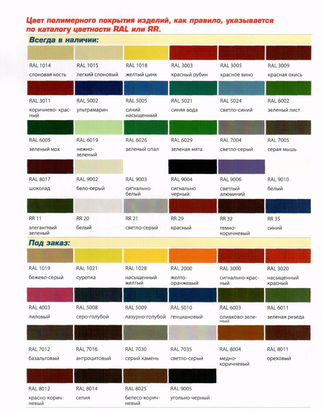 Список всех названий цветов
